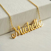 18 Kt Hallmark Real Solid Yellow Gold Custom Nameplate Chain Necklace Pendant