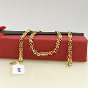 18 Kt Hallmark Real Solid Yellow Gold Link Designer Necklace Chain 23.090 Grams