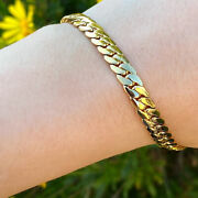 Fine Jewelry 18 Kt Real Solid Yellow Gold Miami Cuban Link Chain Menand039s Bracelet