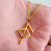 18 Kt Real Solid Yellow Gold Runic Health Symbol Chain Necklace Viking Pendant