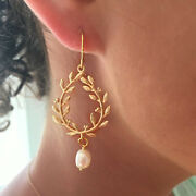 18 Kt Real Solid Yellow Gold Pearl Laurel Wreath Floral Dangle Drop Earrings