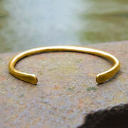 18 K Hallmark Stamped Real Solid Yellow Gold Hammered Tribal Menand039s Cuff Bracelet