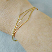 Fine Jewelry 18 Kt Hallmark Real Solid Yellow Gold Wire Wrapped Bangle Bracelet