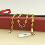 18 Kt Hallmark Real Solid Yellow Gold Link Unique Necklace Chain 20.080 Grams