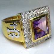 18 Kt Real Solid Yellow Gold Cross Amethyst Zircon Cz Signet Menand039s Ring 16 Grams