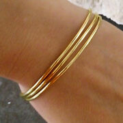18 Kt Hallmark Real Solid Yellow Gold Thin Everyday Stacking Bangle Bracelet