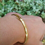 18 Kt Hallmark Real Solid Yellow Gold Hammered Shiny Texture Bangle Bracelet