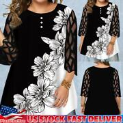 Plus Size Womens 3/4 Sleeve Button Front Long Sleeve Blouse Pullover Shirt Tops