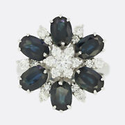1970s Large Sapphire And Diamond Cluster Ring 18ct White Gold