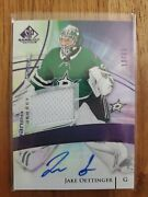 2020 21 Sp Game Used Jake Oettinger Authentic Rookies Patch Auto Purple /65