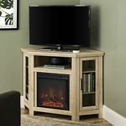 Walker Edison White Oak Corner Fireplace Tv Stand For Tvs Up To 55