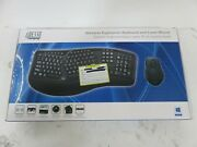 Adesso 2.4ghz New Black Ergonomic Wireless Keyboard And Laser Mouse