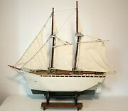 Large Scale 40 Handmade Wooden Ship Model W/wheeled Cart/stand Vintage Detailed