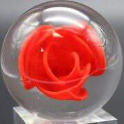 Beautiful Early Drew Ebelhare Blossoming Red Crimp Rose Art Glass Paperweight