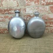 Vintage Pair Of Viko Aluminum Made In Usa Canteens, Old Vintage Viko Canteens