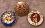 Southern Area Aja And Amateur Judo Assoc Enamel Badges And Great Britain Olympic But