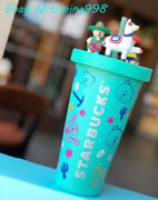 China Starbucks New Summer Mint Green Play Guitar Bear Scene Cup Lid Sippy Cups