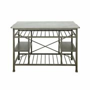 Acme Lanzo Kitchen Island In Marble And Antique Pewter