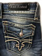 Rock Revival Christian Boot Distressed Womens Jeans Measures 32x35 - Tag Size 30