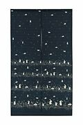 Japanese Noren Doorway Curtain Tapestry Navy Blue Many Rabbits With Flowers