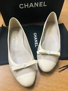 Authentic Ballerina Flats Beige Size 38 W/ Box And Dust Bags