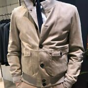 Mandelli S/s Light Weight Leather Jacket/tan Unlined