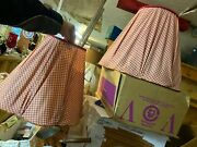 2 Vintage Red Gingham Fabric Tapered Lamp Shades 14.5tx17.5wx8wttop Hand Sewn
