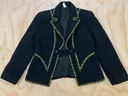 Gianni Versace Couture Women Size 44 100 Wool Spellout Accent Coat Jacket Euc