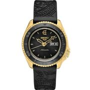 New Seiko 5 Sports Evisen Skateboards Limited Edition Yellow Pvd Watch Srpf94