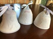 3 Lladro Porcelain Christmas Bells1999 To 2001 Not In Box