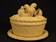 Very Rare 1800s Game Dish With 3 Chicks Hatching Cane Yellow Ware Caneware Mint