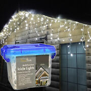 12m 500 Leds Outdoor Snowtime Icicle Lights In Ice White Timer / Memory / Eco