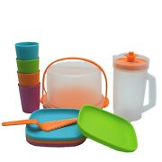 Tupperware Kids Party Play Set Cake Taker Pitcher Tumblers Plates 11 Pieces Nos