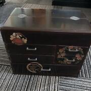 Japanese Vintage Wooden Makie Sewing Box Used Beautiful Needle Box Excellent