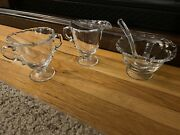 Vintage Glass Creamer And Sugar Set With Jelly Bowl And Spoon