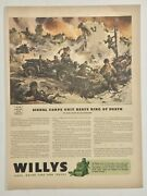 1943 Original Willys Jeep Print Ad - Battle At Kasserine Pass - Sessions Lif