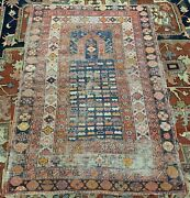 Handmade Antique Caucasian Shirvan Prayer Rug 3.4and039 X 4.9and039 1880s - 1n02