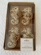 Coastal Collection Boxed Set/4 Gold And White Beaded 3 Seahorse Napkin Rings Nwt