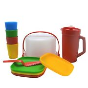 Tupperware Kids Party Set Cake Taker Pitcher Tumblers Plates Blue Plate Replaced