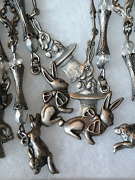 Rabbits Large Chandelier Clip On Earrings Bunny Rabbits Charms Magic Ribbon +
