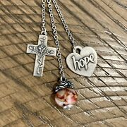 James Avery Retired Charms On Cascading Charm Necklace Rose Glass Finial Hope
