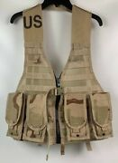 New Us Army Molle Ii Desert Fighting Load Bearing Carrier Vest W/ 4 Mag Pouches