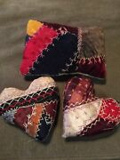 3 Antique Crazy Quilt Pin Cushions Bowl Filler Shelf Sitters Hearts