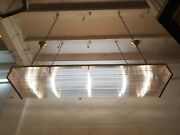 Vintage Art Deco Brass And Glass Rod Ship Wall Ceiling Fixture Hanging Light Lamp
