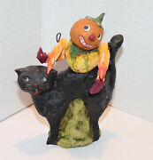Debbee Thibault Pumpkin Man Sitting On Black Cat Signed And Dated 1998