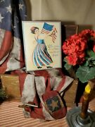 Primitive Antique Vintage Colonial America July 4th Red White Blue Lady Sign