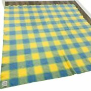 Vintage Colorful Blanket Blue Yellow Green Plaid Woolly Concepts 84 X 77 Nice