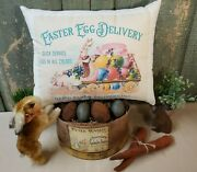 Shabby Primitive Vintage Style Easter Egg Bunny Rabbit Delivery Service Pillow