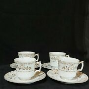 Vintage Harmony House Tea Cups And Saucers Classique Gold 3672 Lot Of 4 Preowned