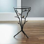 24 In. Antique Bronze Bird And Branches Tripod Side Table